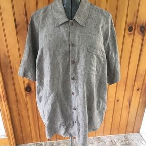 Flax medium gray button front Lagenlook linen top
